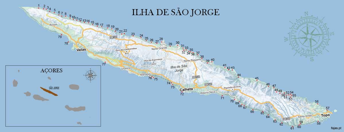 Mapa da localização das Fajãs da Ilha de São Jorge - Açores