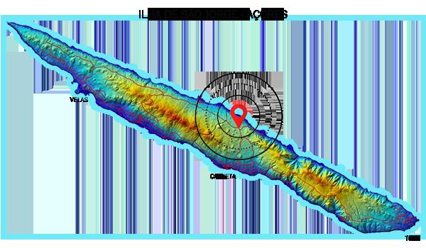 Mapa da localização das Fajãs do Norte Pequeno da Ilha de São Jorge - Açores